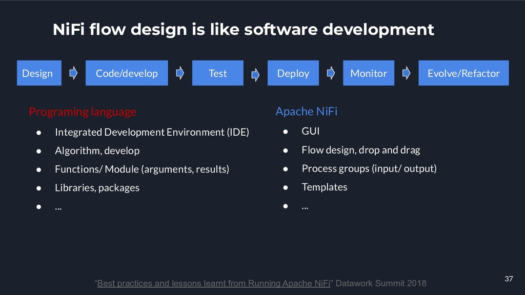 "NiFi flow design is like software development ""B..."