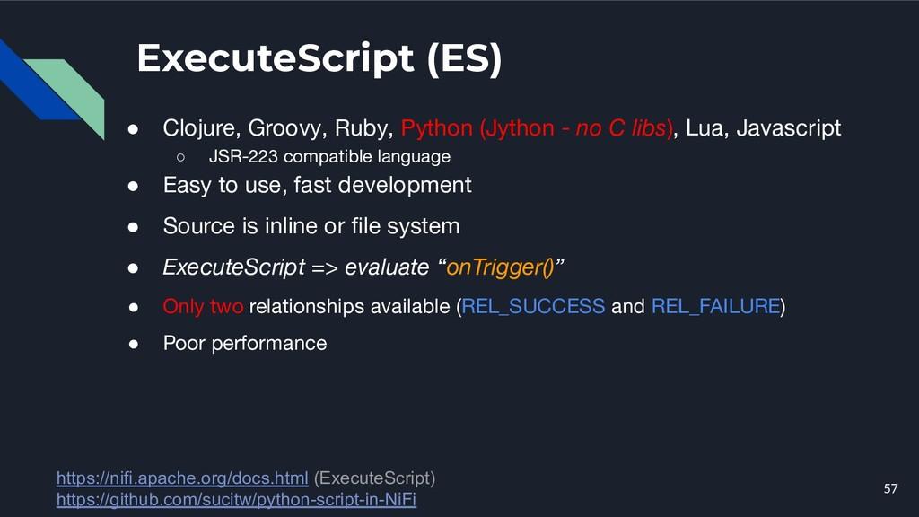 ExecuteScript (ES) ● Clojure, Groovy, Ruby, Pyt...
