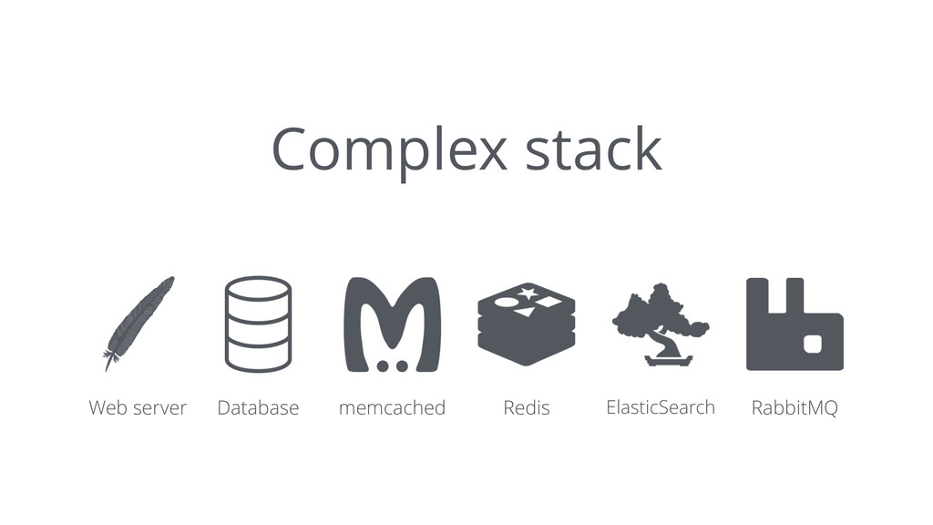 Complex stack Web server Database memcached Red...