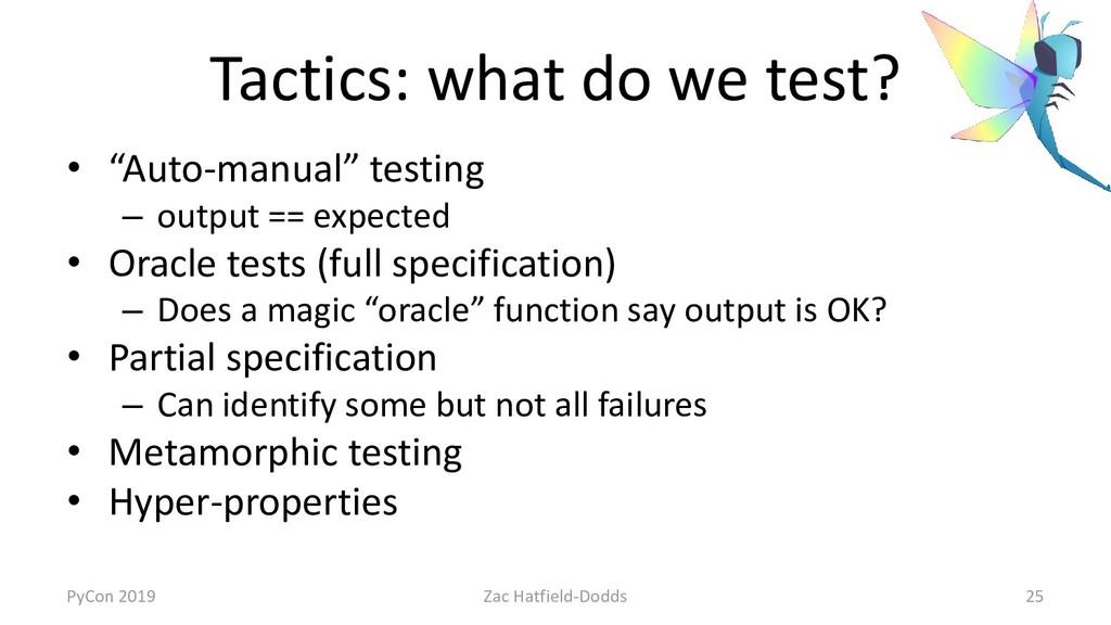 "Tactics: what do we test? • ""Auto-manual"" testi..."