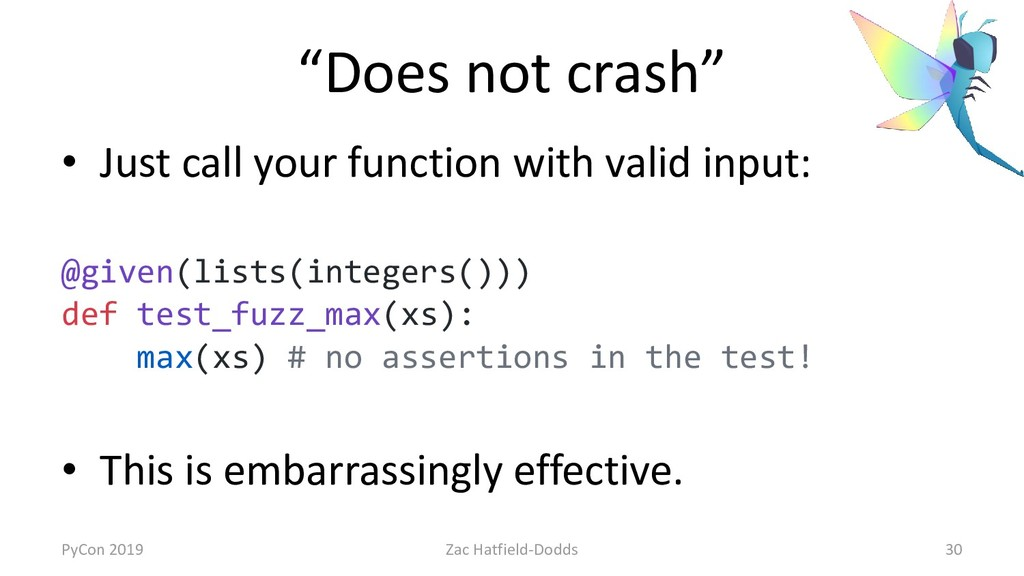 """""""Does not crash"""" • Just call your function with..."""