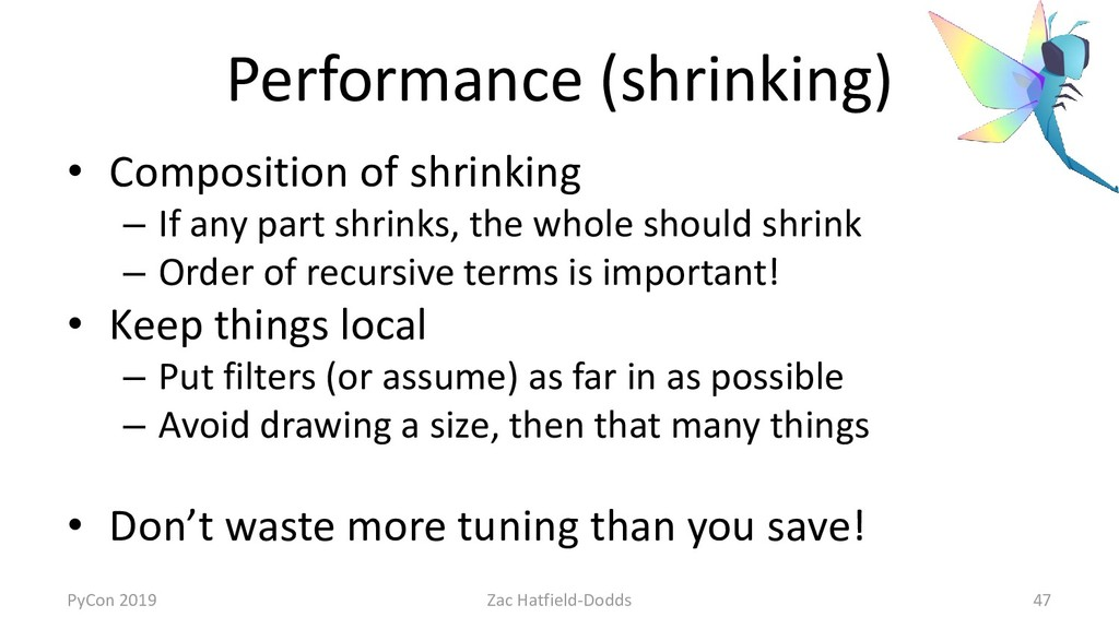Performance (shrinking) • Composition of shrink...