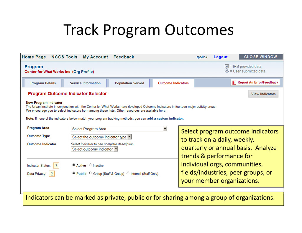 Select program outcome indicators to track on a...