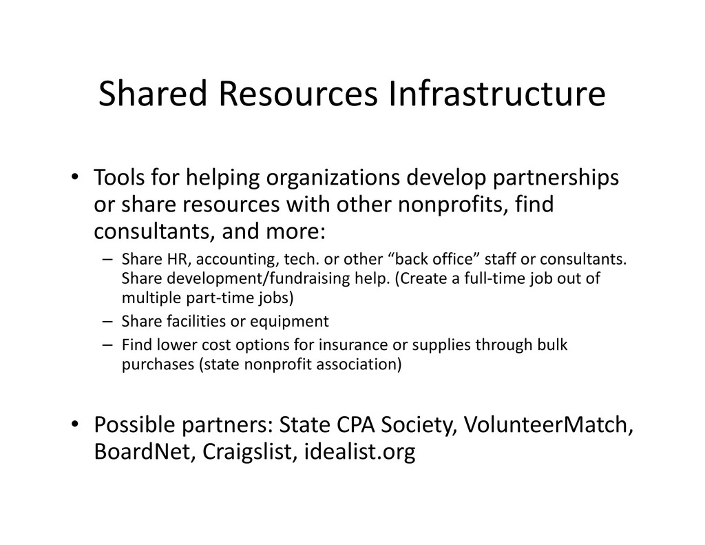 Shared Resources Infrastructure • Tools for hel...