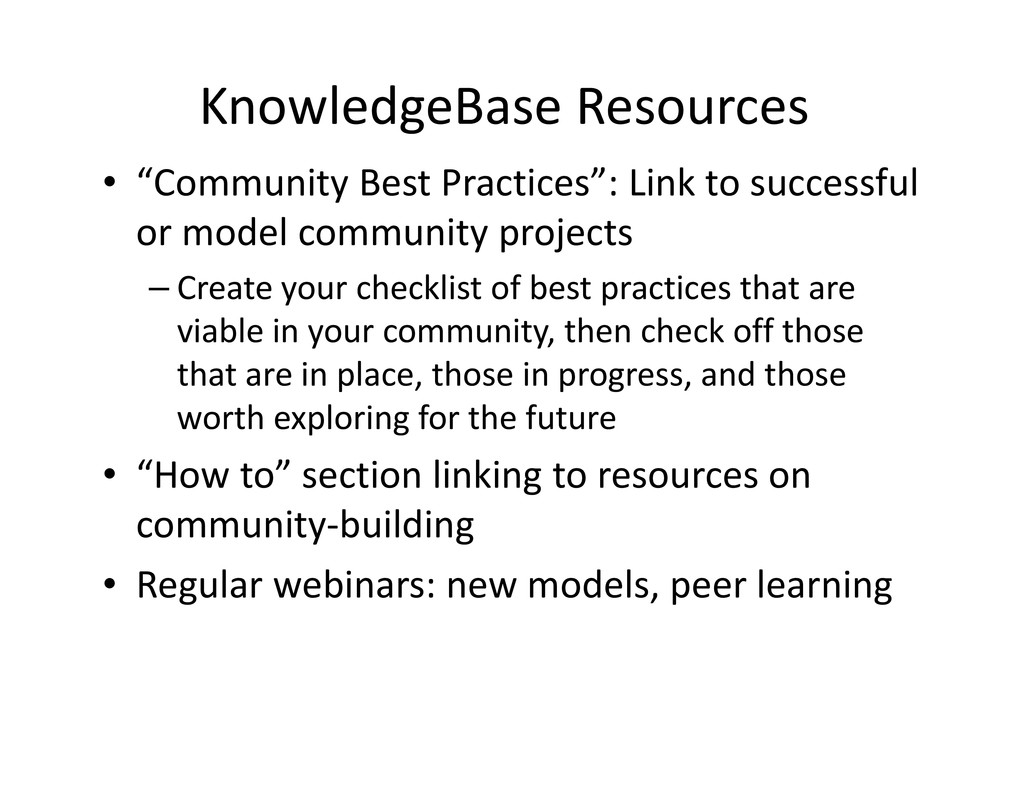 "KnowledgeBase Resources • ""Community Best Pract..."