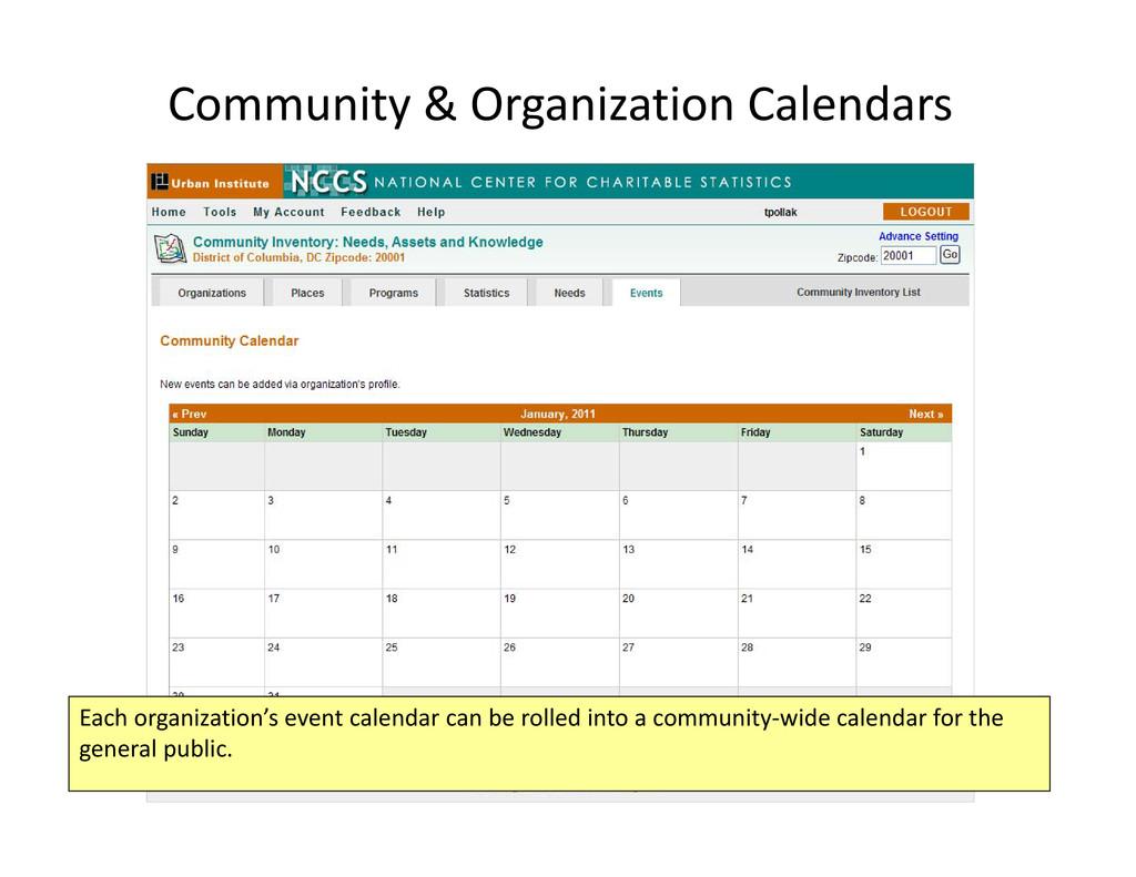 Community & Organization Calendars Each organiz...