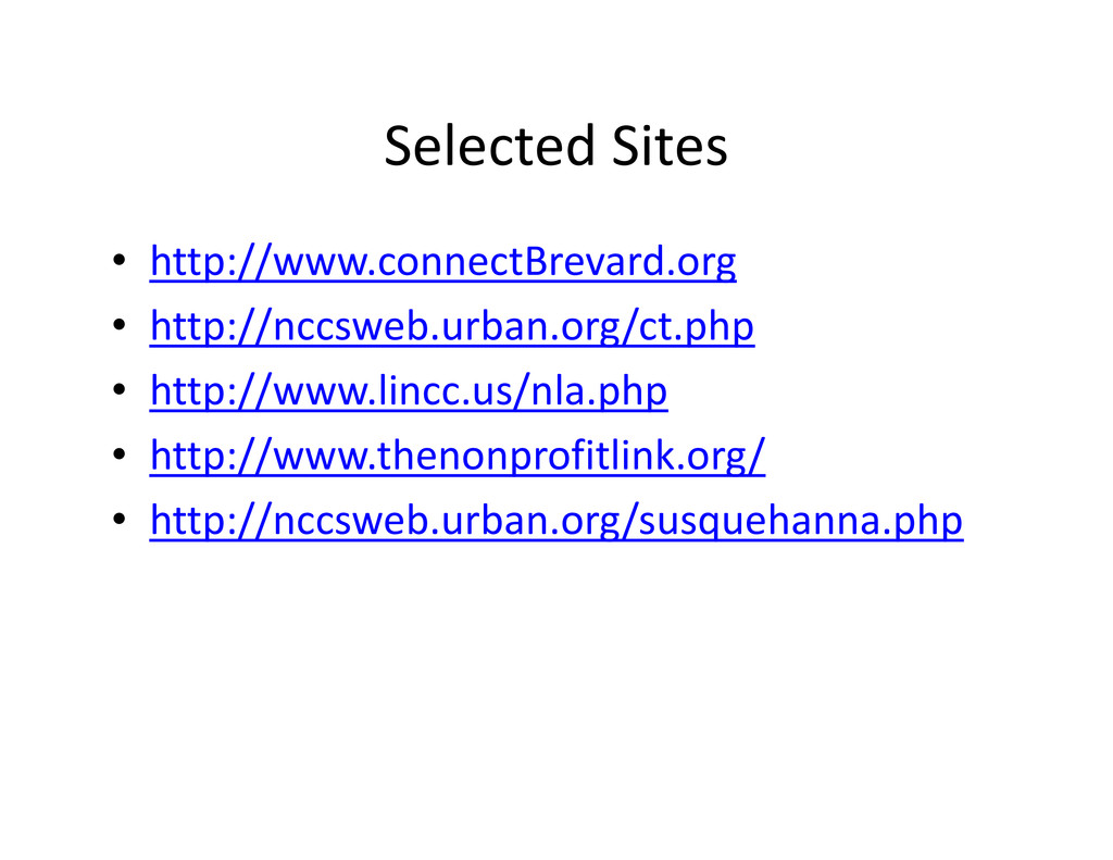 Selected Sites • http://www.connectBrevard.org ...