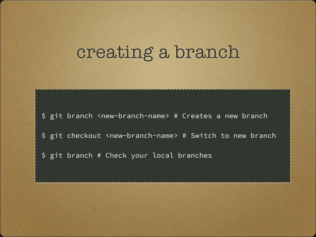 creating a branch $ git branch <new-branch-name...