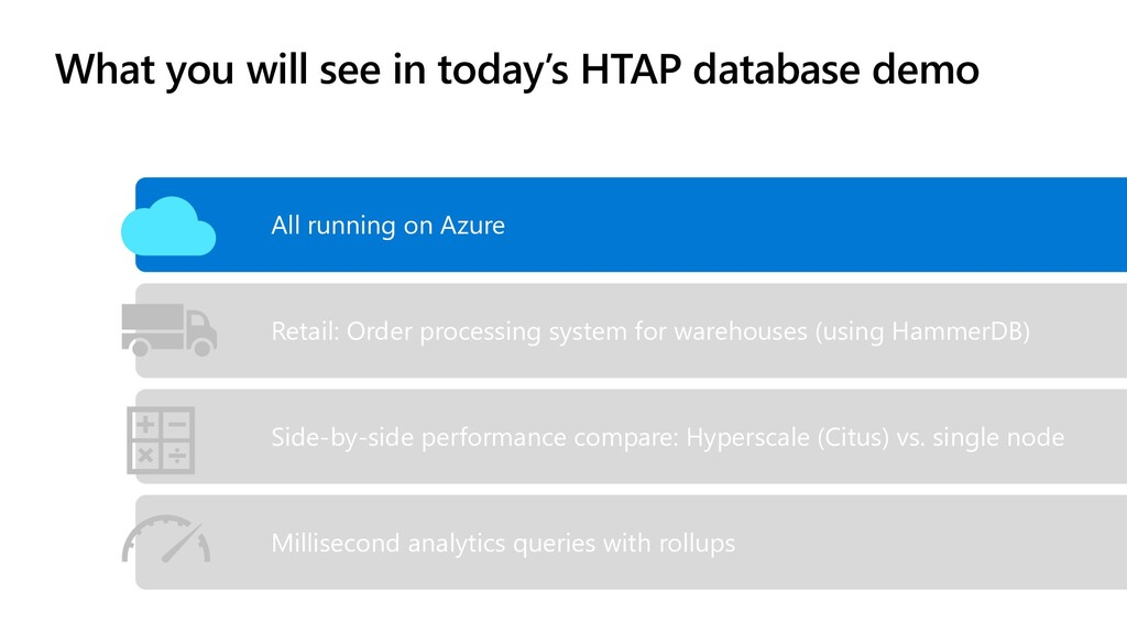What you will see in today's HTAP database demo...