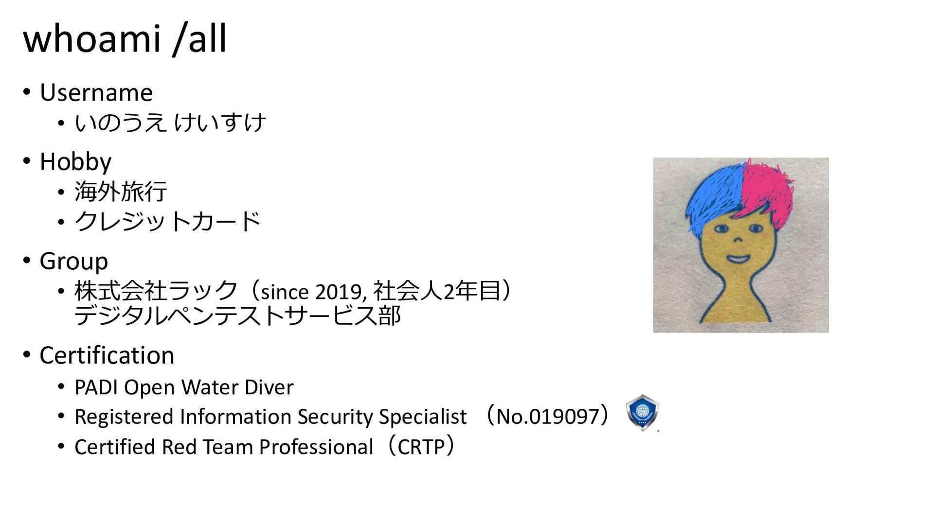 whoami /all • Username • いのうえ けいすけ(@keisuke_oni...