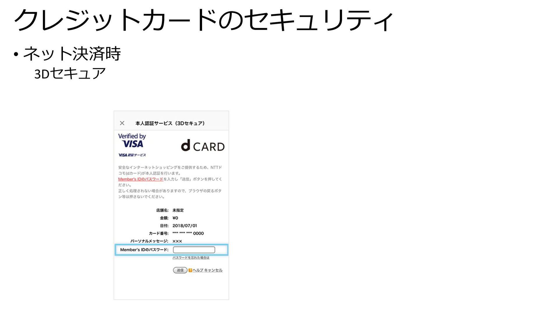 クレジットカードのセキュリティ • ネット決済時 3Dセキュア