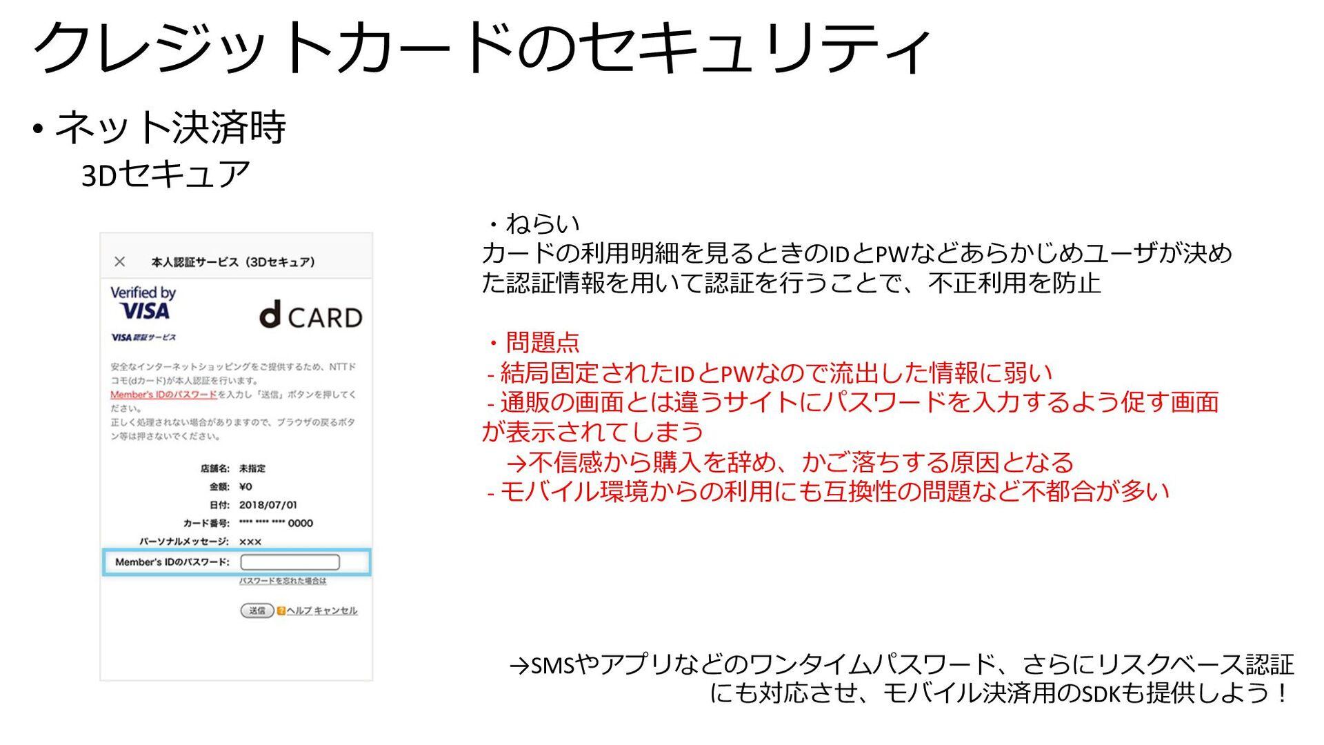 クレジットカードのセキュリティ • ネット決済時 3Dセキュア ・ねらい カードの利⽤明細を⾒...