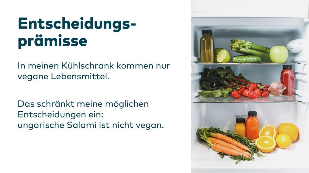 Entscheidungs- prämisse In meinen Kühlschrank k...