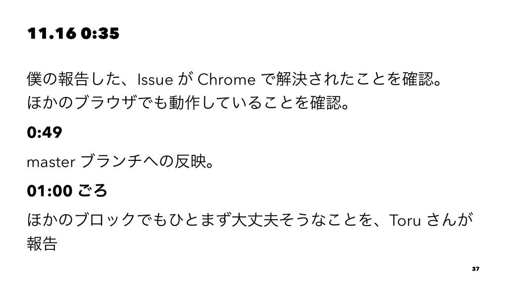 11.16 0:35 ͷใࠂͨ͠ɺIssue ͕ Chrome Ͱղܾ͞Εͨ͜ͱΛ֬ɻ ΄...