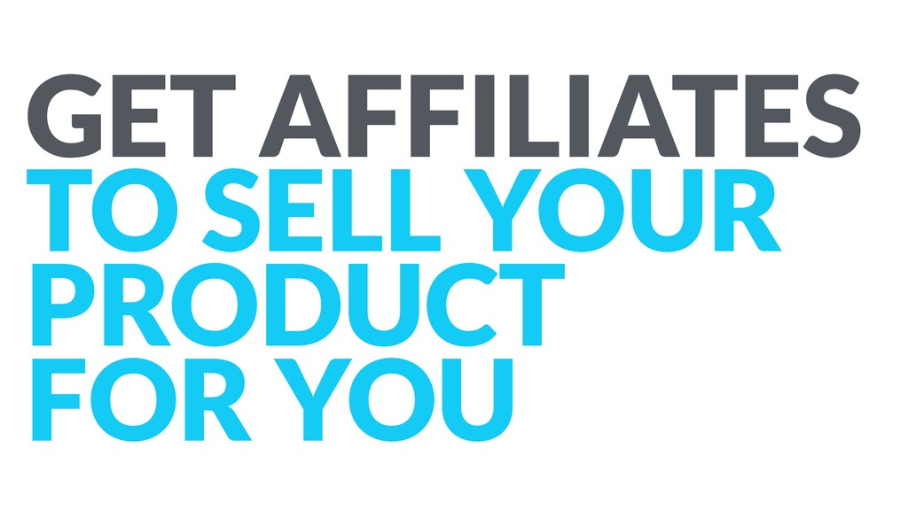 GET AFFILIATES TO SELL YOUR PRODUCT FOR YOU