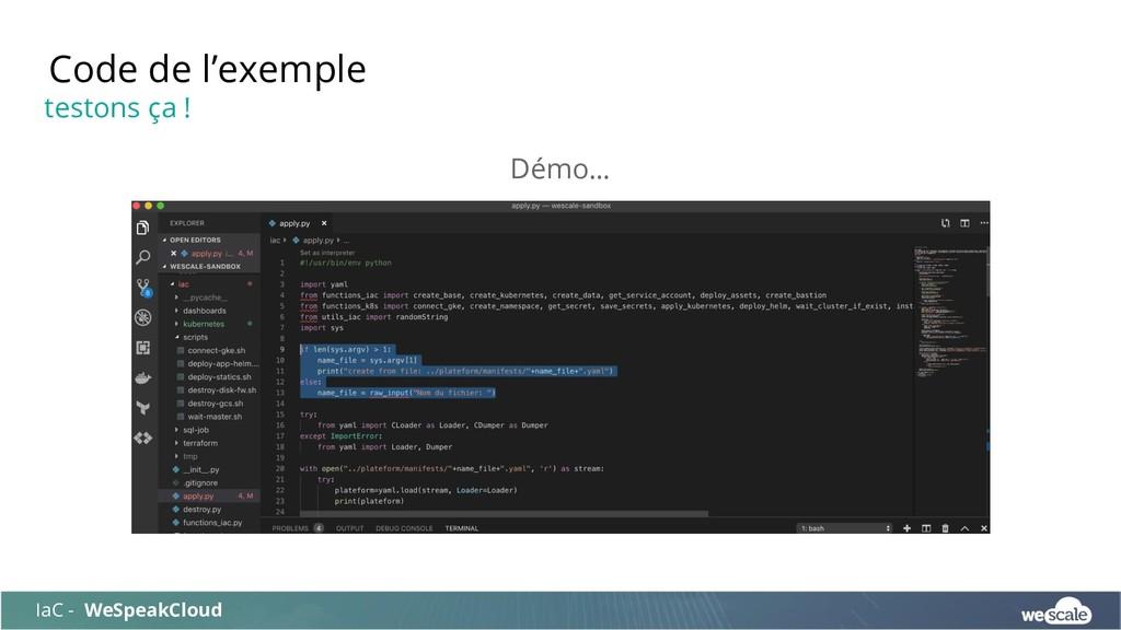Démo… Code de l'exemple IaC - WeSpeakCloud test...