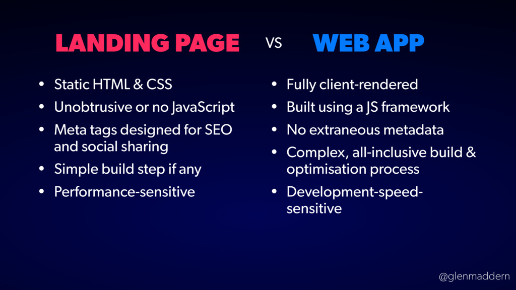 @glenmaddern LANDING PAGE WEB APP • Static HTML...