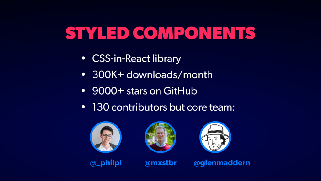 STYLED COMPONENTS • CSS-in-React library • 300K...