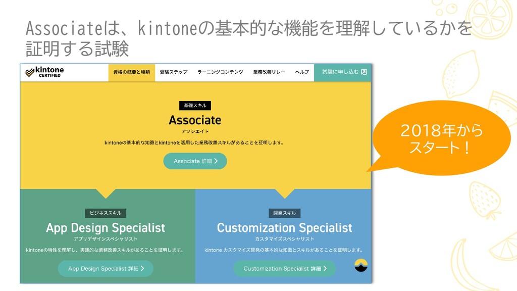 Associateは、kintoneの基本的な機能を理解しているかを 証明する試験 2018年...