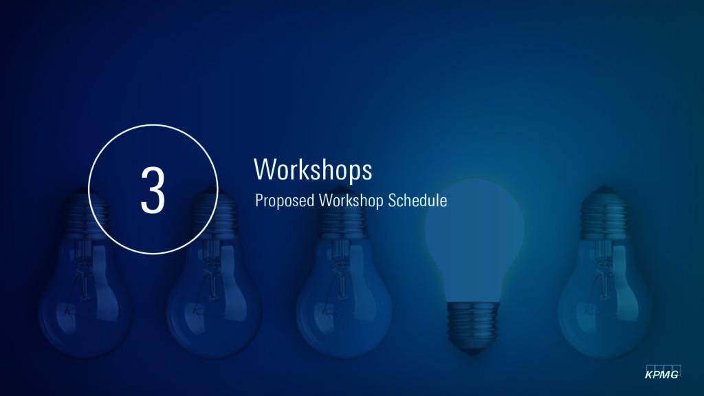 kpmg Workshops 3 Proposed Workshop Schedule