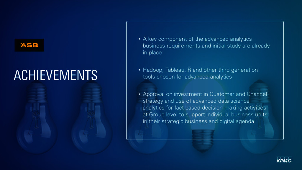 • A key component of the advanced analytics bus...