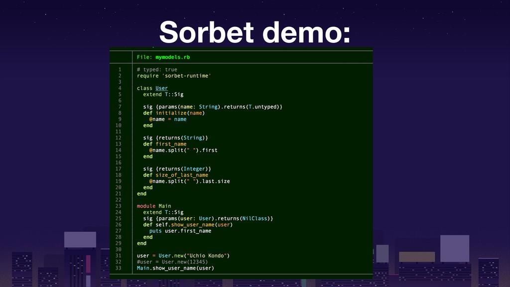 Sorbet demo: