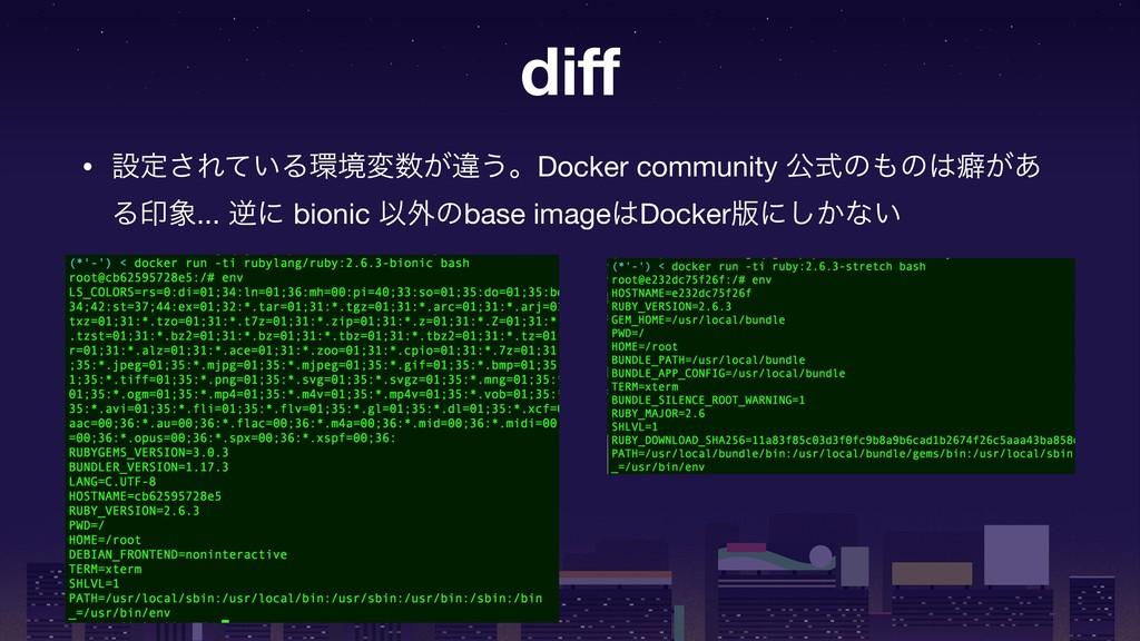diff • ઃఆ͞Ε͍ͯΔڥม͕ҧ͏ɻDocker community ެࣜͷͷบ͕͋...