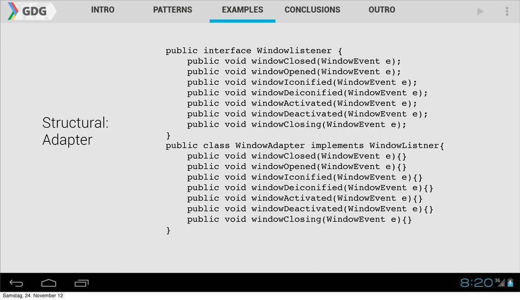 Structural: Adapter public interface Windowlist...