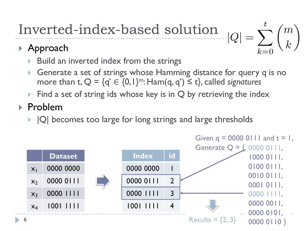 Inverted-index-based solution 6 } Approach } Bu...