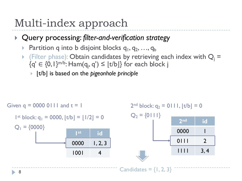Multi-index approach 8 } Query processing: filt...