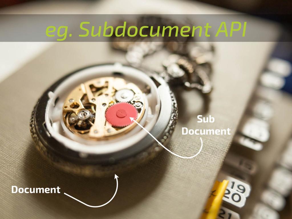 eg. Subdocument API Document Sub Document