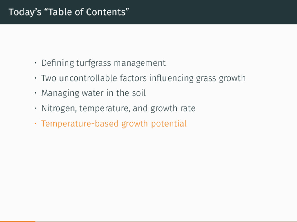 """Today's """"Table of Contents"""" • Defining turfgrass..."""