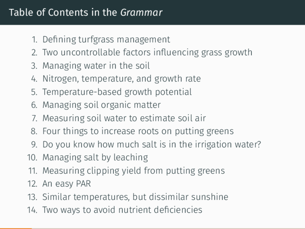 Table of Contents in the Grammar 1. Defining tur...