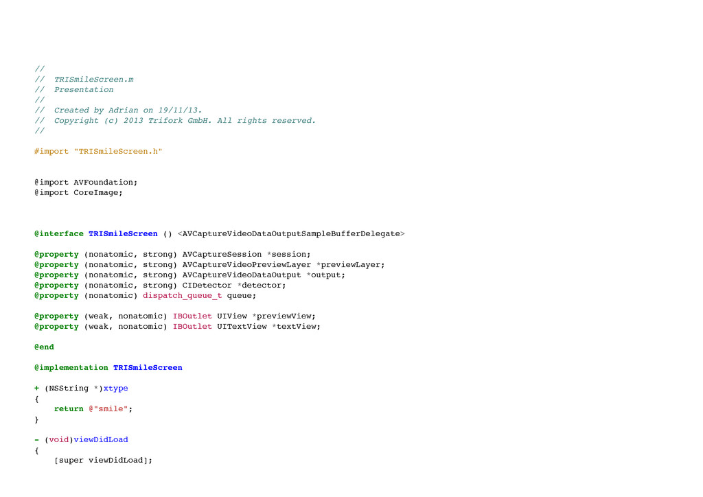 // // TRISmileScreen.m // Presentation // /...