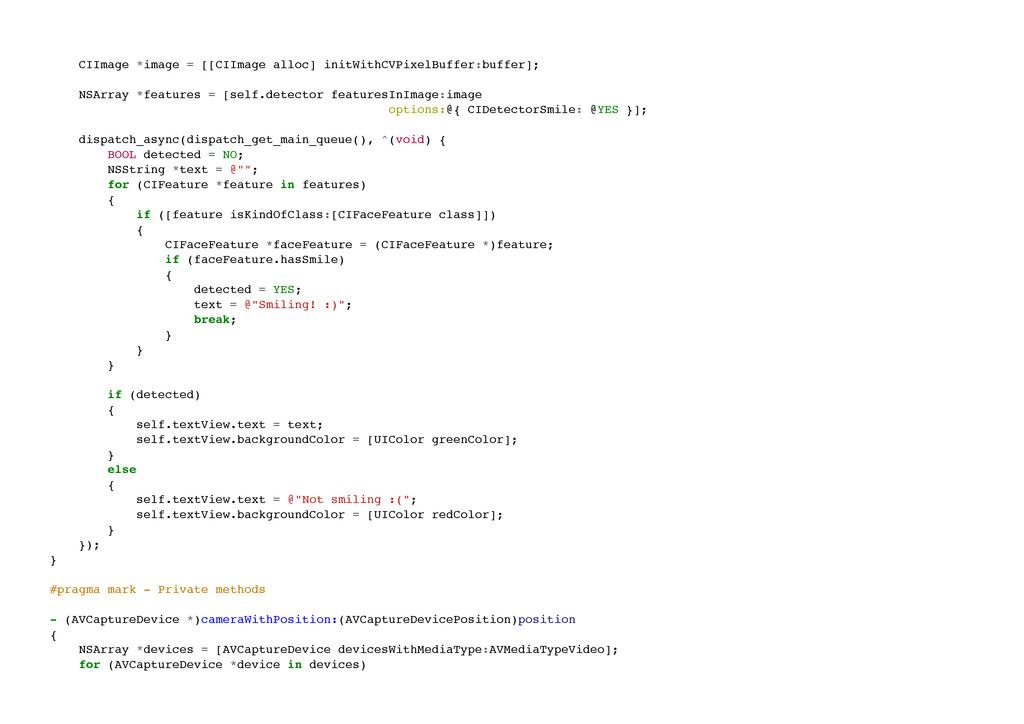 CIImage *image = [[CIImage alloc] initWithCVPix...