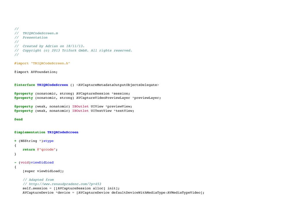 // // TRIQRCodeScreen.m // Presentation // ...