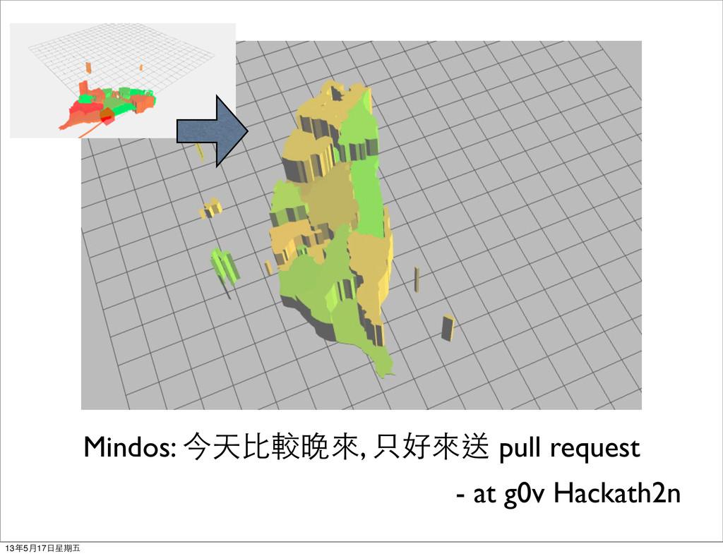 Mindos: 今天比較晚來, 只好來送 pull request - at g0v Hack...