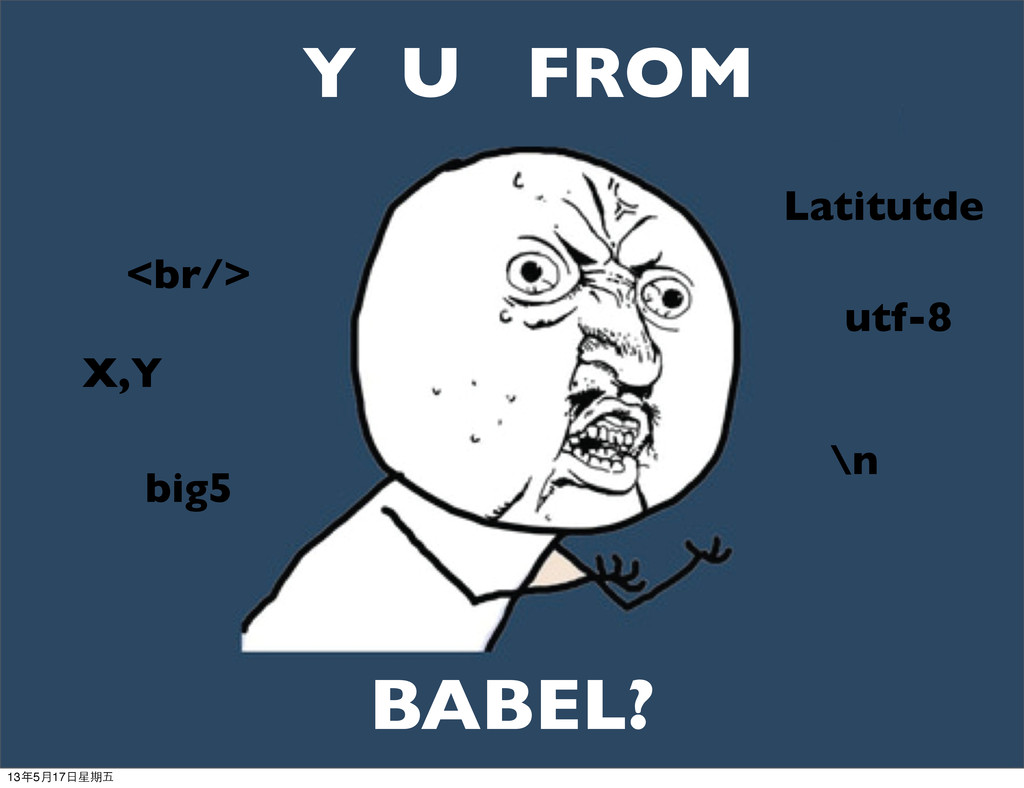 Y U FROM BABEL? <br/> \n X,Y Latitutde big5 utf...