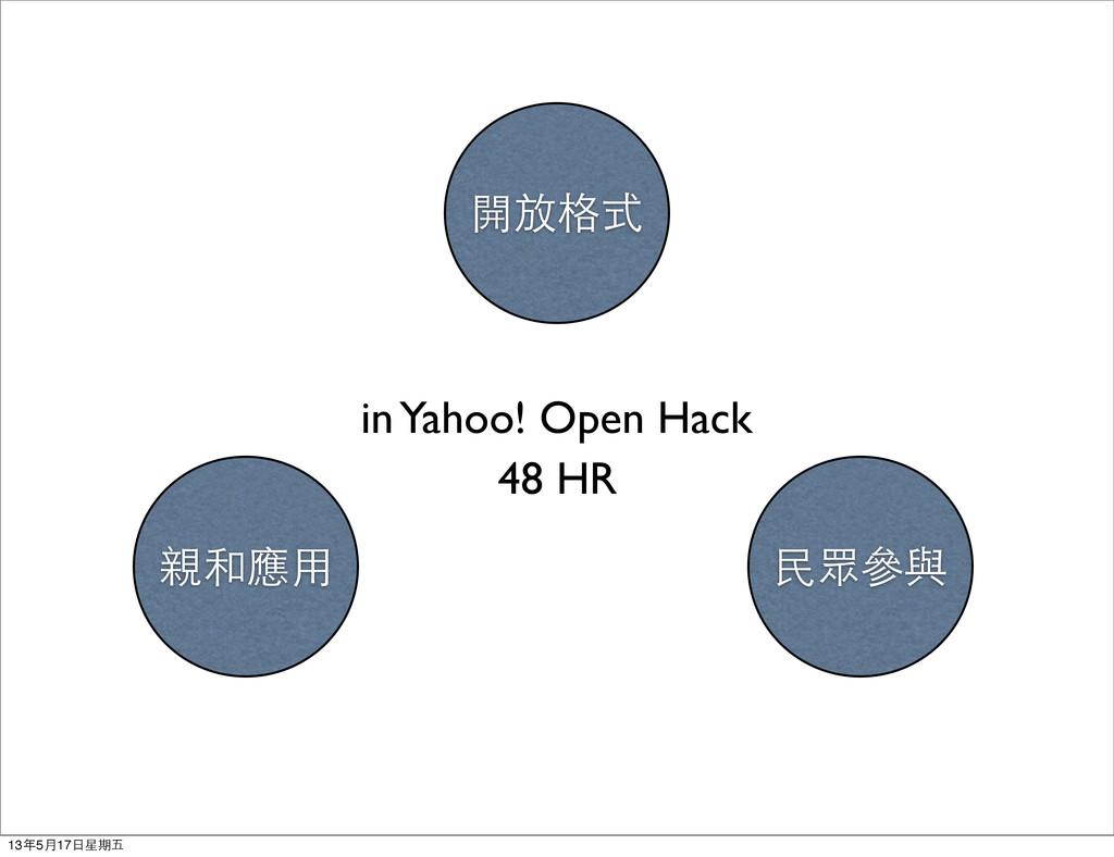 開放格式 親和應用 民眾參與 48 HR in Yahoo! Open Hack 13年5月1...