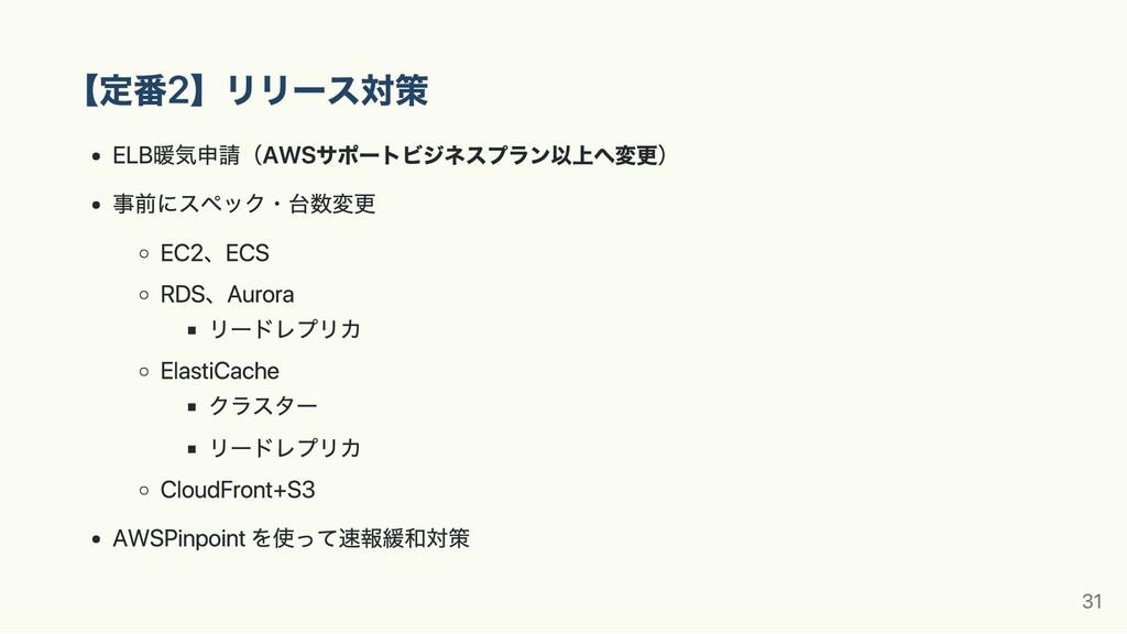 【定番2】リリース対策 ELB暖気申請(AWSサポートビジネスプラン以上へ変更) 事前にスペッ...