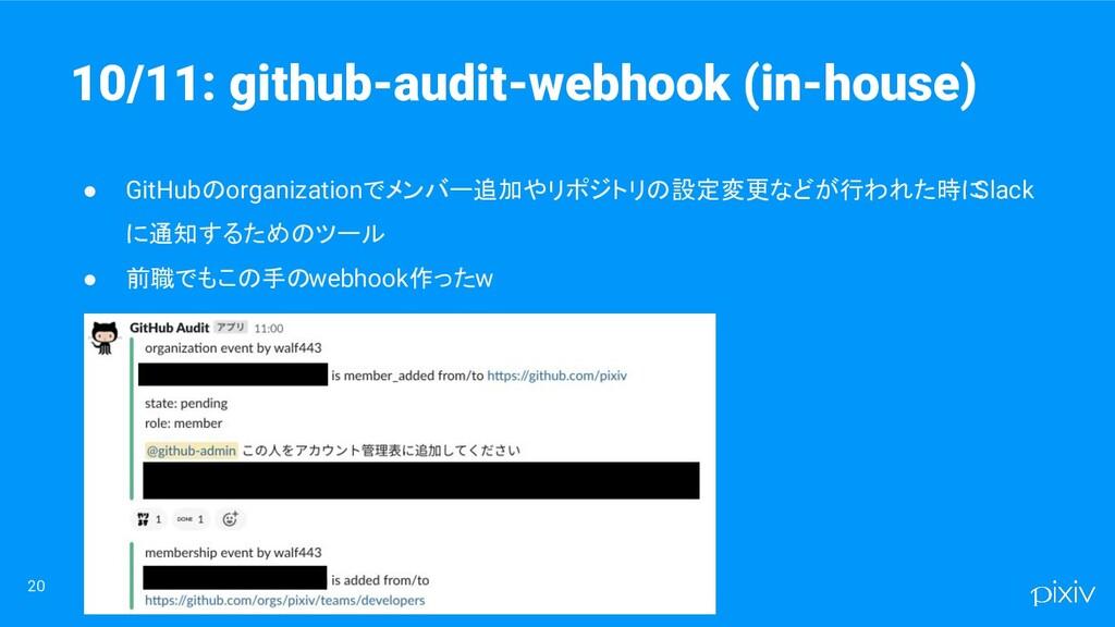 20 ● GitHubのorganizationでメンバー追加やリポジトリの設定変更などが行わ...