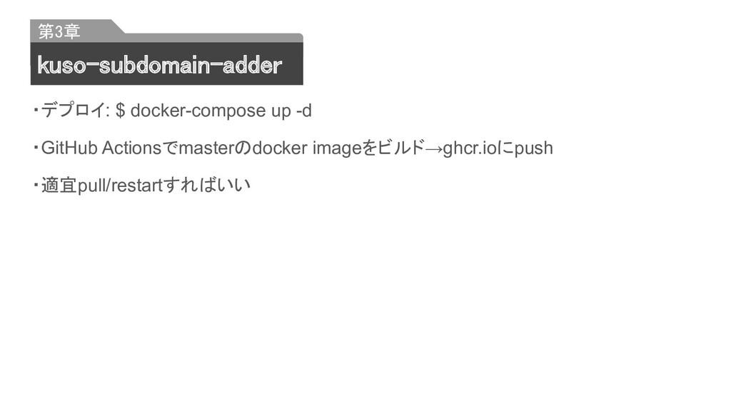 ・デプロイ: $ docker-compose up -d ・GitHub Actionsでm...