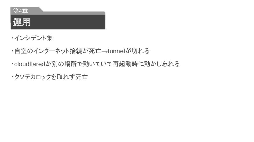 ・インシデント集 ・自室のインターネット接続が死亡→tunnelが切れる ・cloudflar...