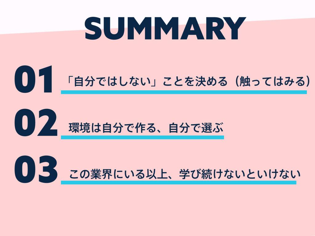 SUMMARY 01 ʮࣗͰ͠ͳ͍ʯ͜ͱΛܾΊΔʢ৮ͬͯΈΔʣ 02 ڥࣗͰ࡞Δɺ...