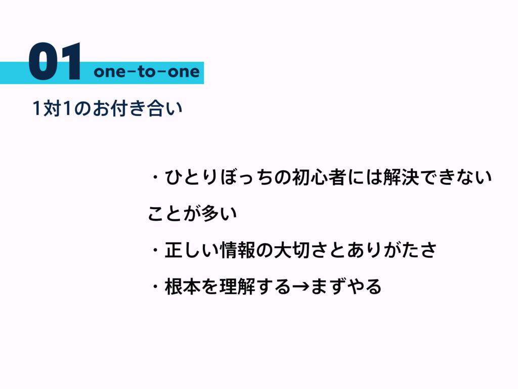 01 ରͷ͓͖߹͍ one-to-one ɾͻͱΓ΅ͬͪͷॳ৺ऀʹղܾͰ͖ͳ͍ ͜ͱ͕...