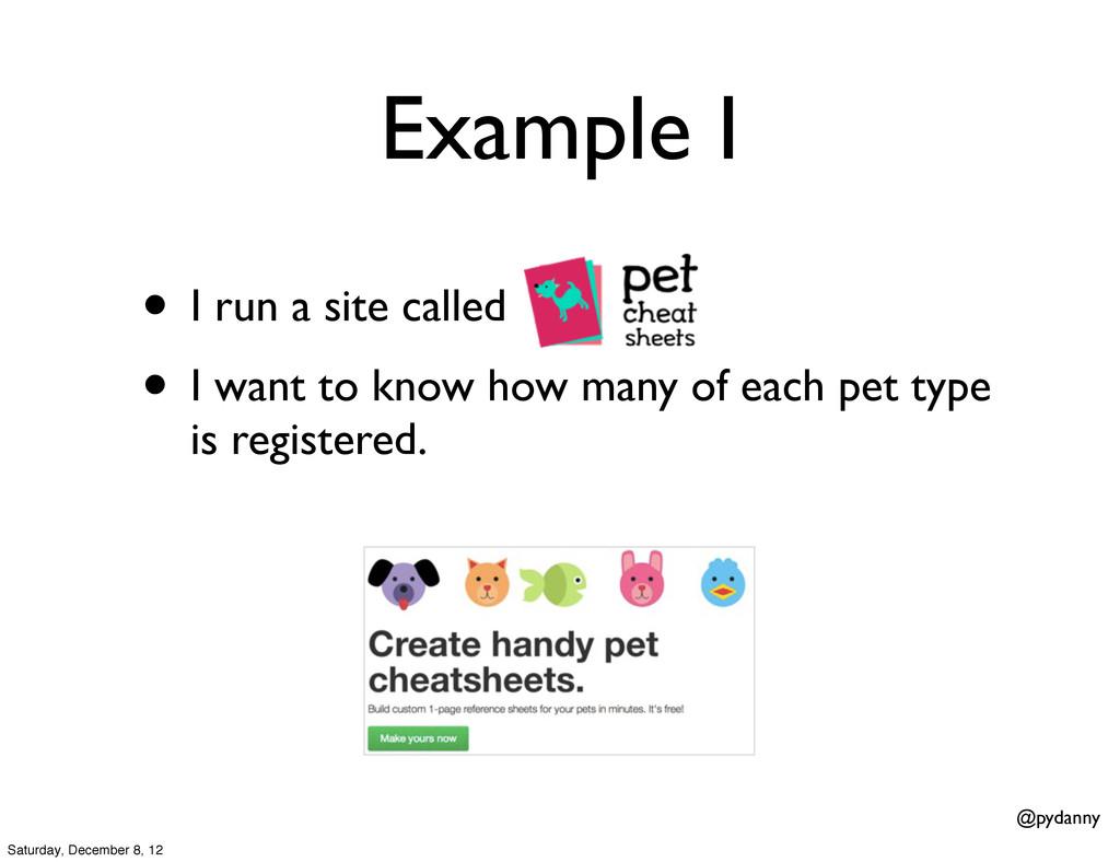 @pydanny Example I • I run a site called • I wa...