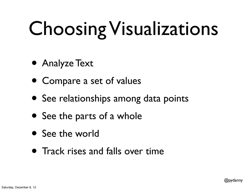 @pydanny Choosing Visualizations • Analyze Text...