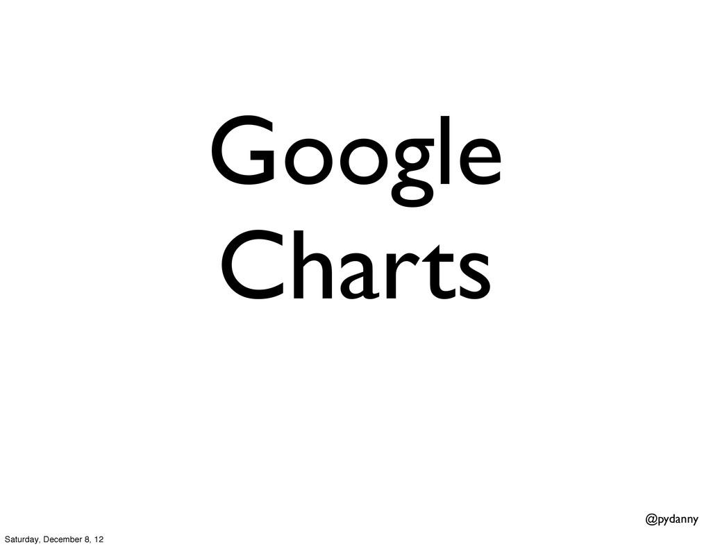@pydanny Google Charts Saturday, December 8, 12