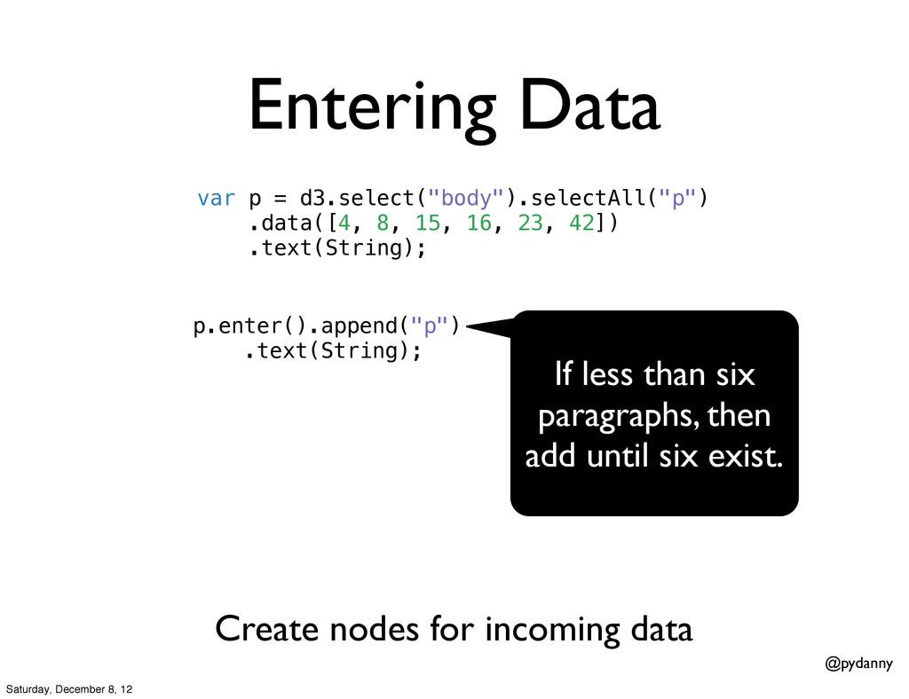 "@pydanny Entering Data var p = d3.select(""body""..."