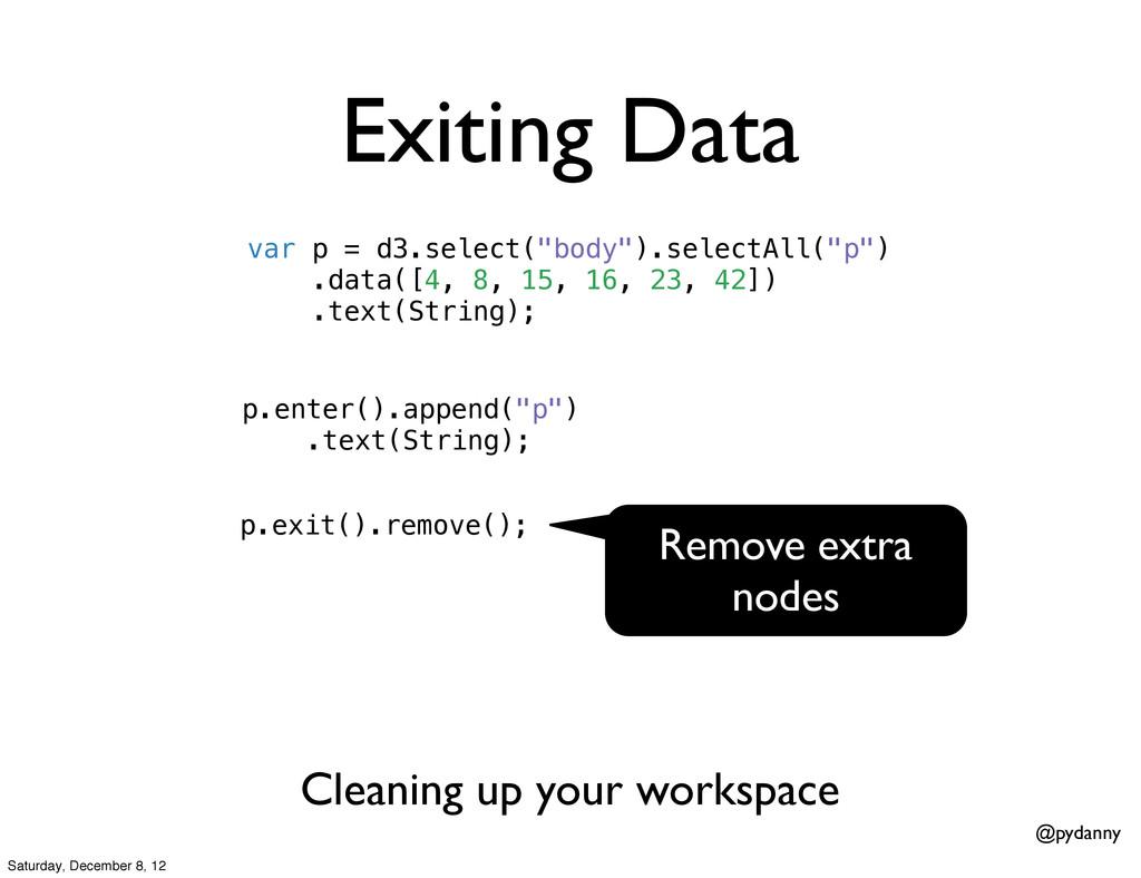 "@pydanny Exiting Data var p = d3.select(""body"")..."